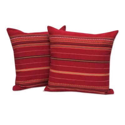 Alpaca blend cushion covers, 'Peruvian Cherry' (pair) - Red Alpaca Blend Hand Woven Cushion Cover Pair