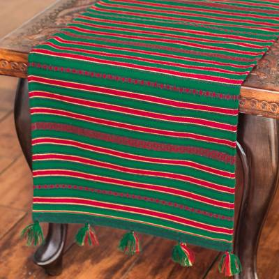 Woven table runner, 'Festive Forest' - Green Handwoven Table Runner with Red