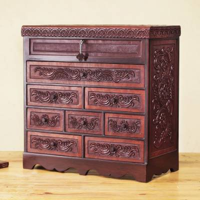 Cedar and leather jewelry box, 'Floral Delight' - Andean Hand Tooled Leather Lock and Key Jewelry Box