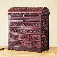 Cedar and leather jewelry box, 'Floral Treasure Chest' - Leather Lock and Key Andean Hand Tooled jewellery Box Chest