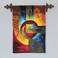 Alpaca blend tapestry, 'A Man Dreams' - Handwoven Alpaca Blend Surreal Tapestry from Peru