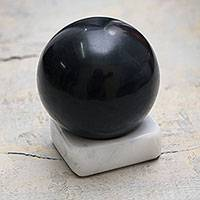 Onyx sphere, 'Dark Night' - Andean Onyx Artisan Crafted Stone Sculpture and Stand