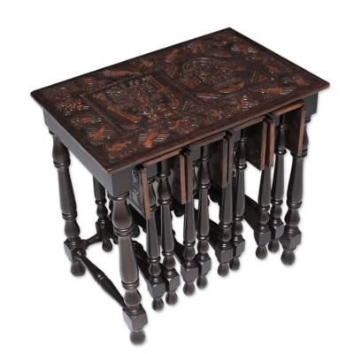 Mohena Wood And Leather Table And TV Trays, U0027Nazca Storiesu0027 (set Of