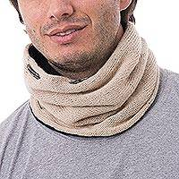 Men's 100% alpaca reversible neck warmer, 'Versatile Beige'