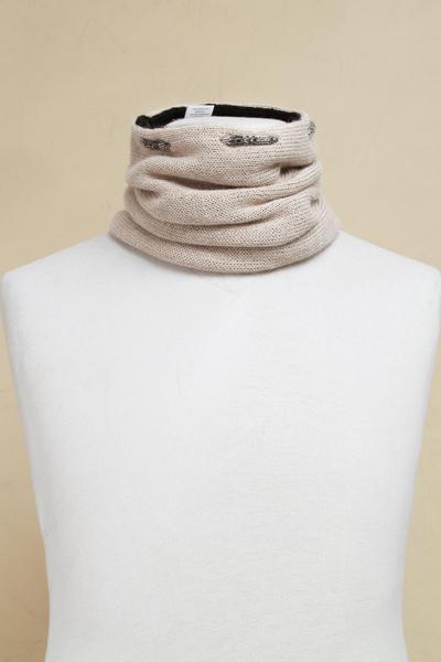Men's 100% alpaca reversible neck warmer, 'Versatile Beige' - Men's Beige Black Reversible 100% Alpaca Neck Warmer Hat