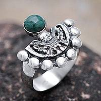 Chrysocolla cocktail ring, 'Iridescence' - Hand Made Inca Theme Blue Green Chrysocolla Silver Ring