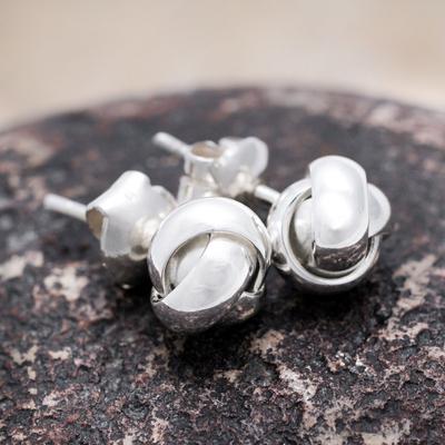Sterling silver button earrings, 'Love Knot' - Andean Hand Made Sterling Silver Button Earrings