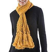 Alpaca blend scarf, 'Exuberant Gold' - Golden Yellow Textured Alpaca Blend Scarf Knitted by Hand