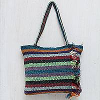 Wool shoulder bag, 'Andean Rainbow' - Colorful Handwoven Andean Wool Shoulder Bag
