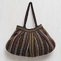 Wool hobo handbag, 'Earthy Endeavors' - Andean Wool Handwoven Hobo Handbag in Earth Tones