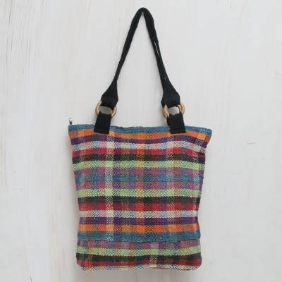 Wool tote handbag, 'Color Palette' - Brightly Colored Wool Plaid Handwoven Tote Purse