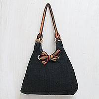 Wool shoulder bag, 'Night Lights' - Andean Black Handwoven Wool Shoulder Bag