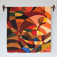 Wool tapestry, 'The Birth' - Hand Woven Cubist Style Wool Tapestry from Peru