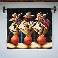 Wool tapestry, 'Eve of Holy Week' - Andean Traditions Signed Hand Loomed Multicolor Tapestry