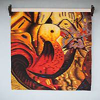 Wool tapestry, 'The Nest' - Condors in Orange Hand Loomed Wool Wall Tapestry