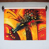 Wool tapestry, 'Nazca Bird' - Orange and Yellow Hand Woven Nazca Style Bird Tapestry
