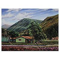 'Tarma Landscape' - Andean Village and Landscape Realism Oil Painting