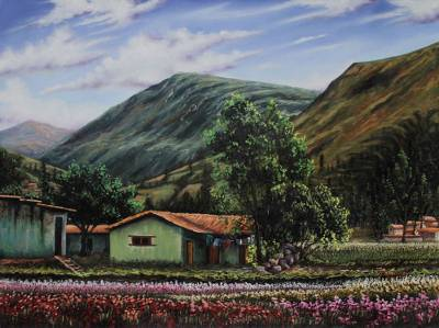Andean Village and Landscape Realism Oil Painting