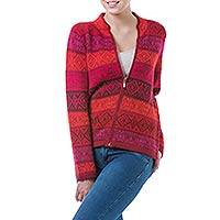 100% alpaca cardigan, 'Roses' - Red Patterned Women's Alpaca Zipper Cardigan Sweater