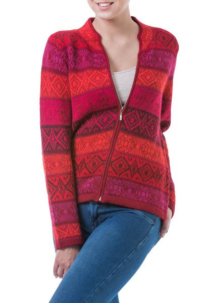 Red Patterned Women's Alpaca Zipper Cardigan Sweater - Roses | NOVICA
