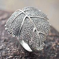 Sterling silver wrap ring, 'Heart Leaf'