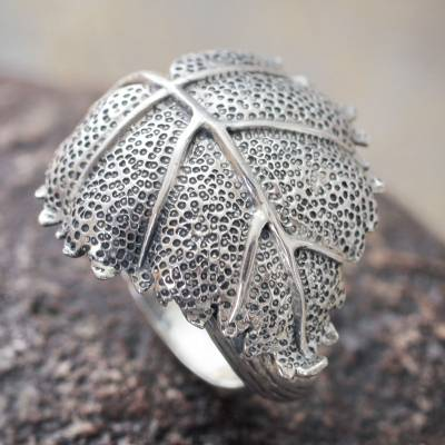 Sterling silver wrap ring, 'Heart Leaf' - Artisan Crafted Sterling Silver Wrap Ring from Peru
