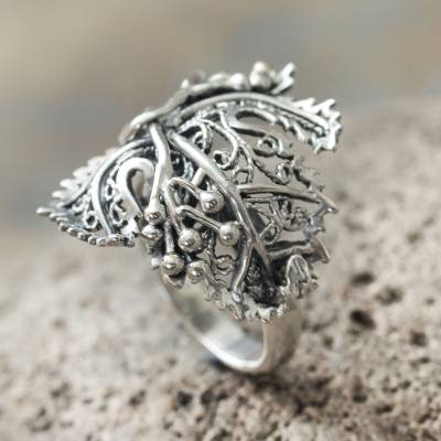 Sterling silver cocktail ring, 'Morgana' - Leaf Shaped Sterling Silver Artisan Crafted Cocktail Ring