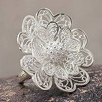 Sterling silver flower ring, 'Enchanted Gardenia' - Fair Trade Peruvian Jewelry Sterling Silver Flower Ring