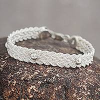 Sterling silver braided bracelet, 'Victory'