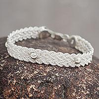 Sterling silver braided bracelet, 'Victory' - Artisan Crafted Sterling Silver Braided Wristband Bracelet