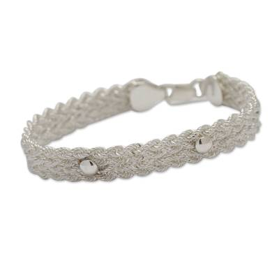 Artisan Crafted Sterling Silver Braided Wristband Bracelet