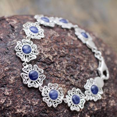 Sodalite flower bracelet, 'Sweet Petunias' - Sodalite on Sterling Silver Flower Link Bracelet from Peru