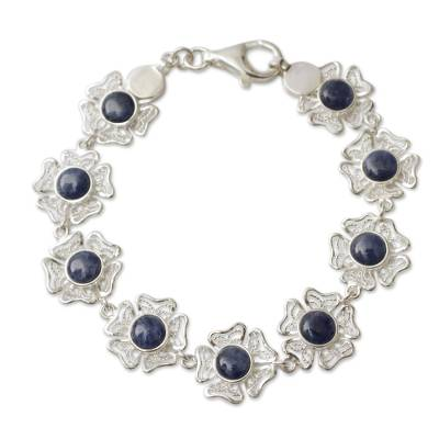 Sodalite on Sterling Silver Flower Link Bracelet from Peru
