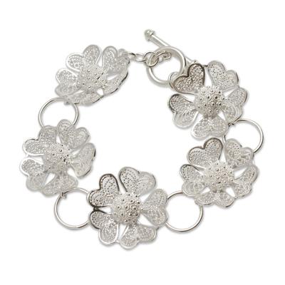 Fair Trade Peruvian Jewelry Sterling Silver Flower Bracelet