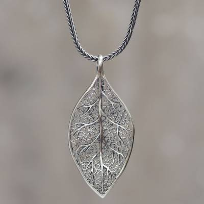Sterling silver coca leaf pendant necklace artisan jewelry coca sterling silver pendant necklace coca diamond sterling silver coca leaf pendant necklace aloadofball Image collections