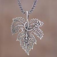 Sterling silver pendant necklace, 'Morgana' - Leaf Shaped Pendant Sterling Silver Artisan Crafted Necklace