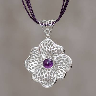 Sterling silver and amethyst flower necklace, 'Enchanted Poppy' - Sterling Silver and Amethyst Flower on Cotton Cord Necklace