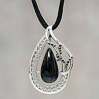 Obsidian pendant necklace, 'Exotic Perfection' - Obsidian and Sterling Silver Necklace Crafted by Hand