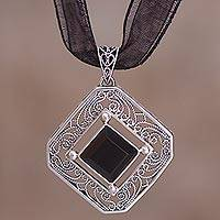 Obsidian pendant necklace, 'Exotic Sophistication' - Hand Crafted Sterling Silver and Obsidian Necklace from Peru
