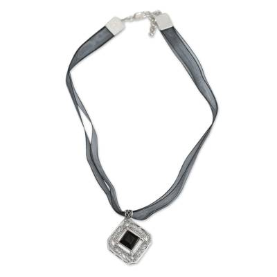 Hand Crafted Sterling Silver and Obsidian Necklace from Peru