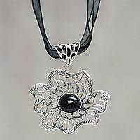 Obsidian flower necklace, 'Delirious' - Obsidian on Sterling Silver Flower Pendant Necklace
