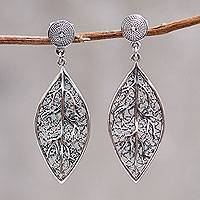 Sterling silver dangle earrings, 'Coca Diamond' - Sterling Silver Coca Leaf Dangle Earrings Artisan Jewelry