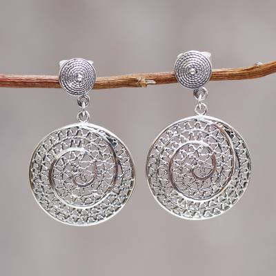Sterling silver dangle earrings, 'Swirl' - Artisan jewellery Hand Crafted Sterling Silver Earrings