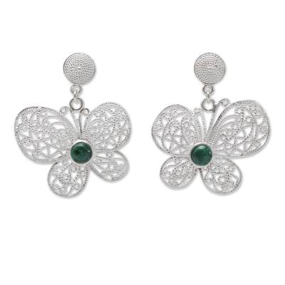 Sterling Silver Butterfly Earrings with Chrysocolla