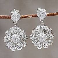 Sterling silver flower earrings, 'Enchanted Gardenia' - Fair Trade Peruvian Jewelry Sterling Silver Flower Earrings