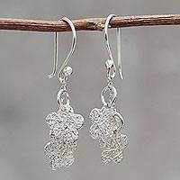 Sterling silver dangle earrings, 'Tarma Flowers' - Andean Hand Crafted Sterling Silver Floral Hook Earrings