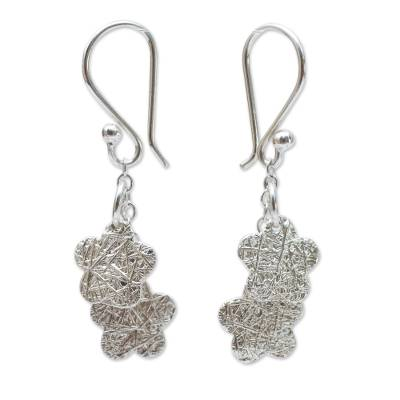 Andean Hand Crafted Sterling Silver Floral Hook Earrings