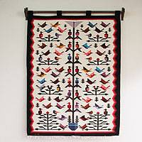 Wool tapestry, 'Hummingbird'