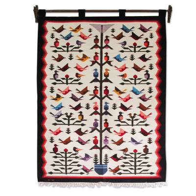 Wool tapestry, 'Hummingbird'  - Fair Trade Peruvian Animal Themed Tapestry Wall Hanging