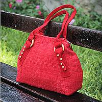 Wool shoulder bag, 'Wanderer in Red' - Red Shoulder Bag in Hand Woven Wool with Wood Details
